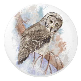 Watercolor Great Grey Owl Bird Nature Art Ceramic Knob