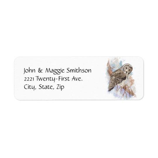 Watercolor Great Grey Owl Bird Nature Art Return Address Label