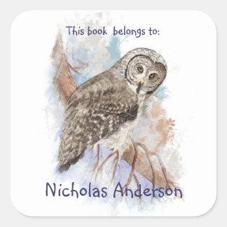 Watercolor Great Grey Owl Birds Bookplate art Square Sticker