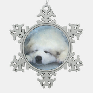 Watercolor Great Pyrenees Sleeping Pup Pewter Snowflake Decoration