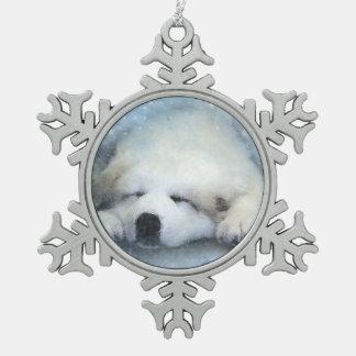 Watercolor Great Pyrenees Sleeping Pup Snowflake Pewter Christmas Ornament