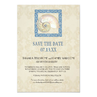 Watercolor Greek Key Pattern Beach Cottage Wedding 13 Cm X 18 Cm Invitation Card