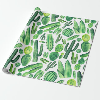 Watercolor green cactus Botanical pattern Nature Wrapping Paper