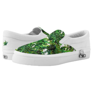Watercolor green fern forest fall pattern slip on shoes