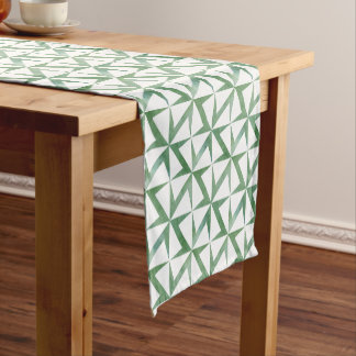 Watercolor Green Floral Pattern Table Runner