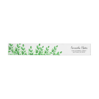 Watercolor Green Foliage | Calligraphy Wrap Around Label