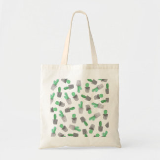 Watercolor green gray modern cactus pattern tote bag