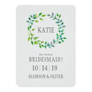 Watercolor Green Leaf Wreath | Bridesmaid Card