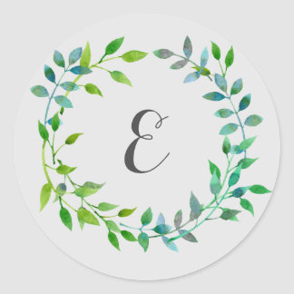 Watercolor Green Leaf Wreath | Monogram Classic Round Sticker