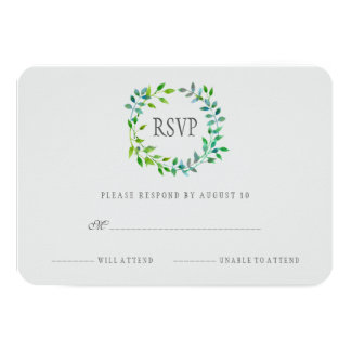 Watercolor Green Leaf Wreath | RSVP Card