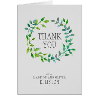 Watercolor Green Leaf Wreath | Thank You Card