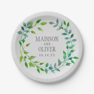Watercolor Green Leaf Wreath | Wedding 7 Inch Paper Plate