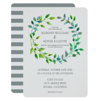 Watercolor Green Leaf Wreath | Wedding Card