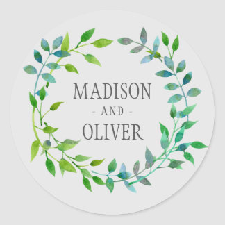 Watercolor Green Leaf Wreath | Wedding Classic Round Sticker