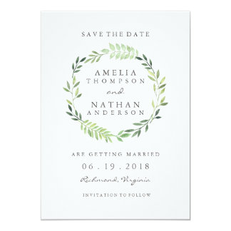 Watercolor Green Leaf Wreath Wedding Save The Date Card