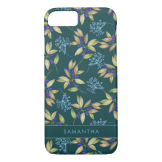 Watercolor Green Leaves and Purple Flowers Pattern iPhone 8/7 Case
