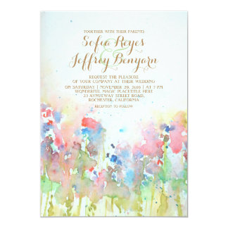 Watercolor Green Meadow Flowers Wedding Card