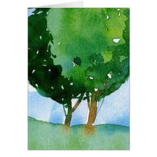 watercolor green trees. greeting card