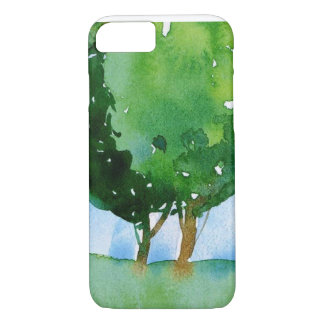 watercolor green trees. iPhone 7 case