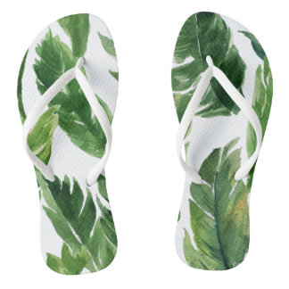 Watercolor Green Tropical Leaves Pattern Flip Flops