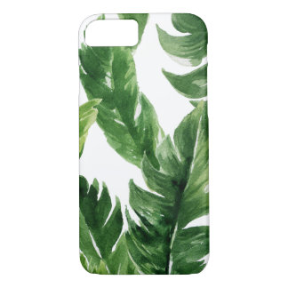 Watercolor Green Tropical Leaves Pattern iPhone 8/7 Case