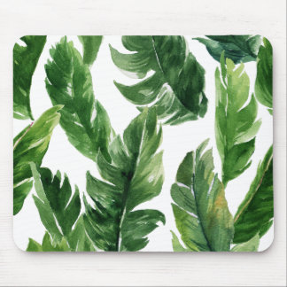 Watercolor Green Tropical Leaves Pattern Mouse Mat