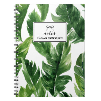 Watercolor Green Tropical Leaves Pattern Notebook