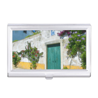 Watercolor green wooden door business card holder