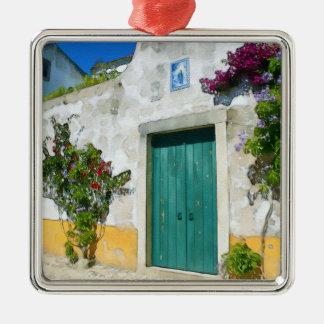 Watercolor green wooden door christmas ornament