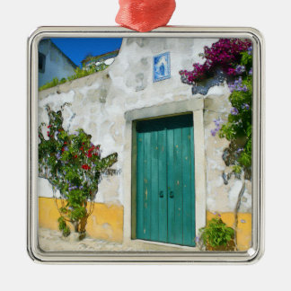 Watercolor green wooden door Silver-Colored square decoration