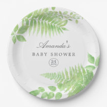 Watercolor Greenery Baby Shower Paper Plate