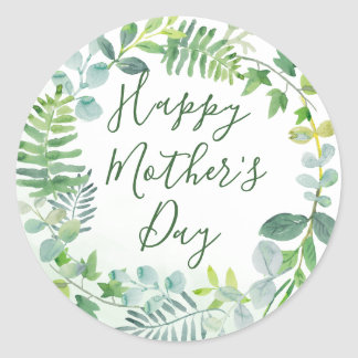 Watercolor Greenery Happy Mother's Day Classic Round Sticker