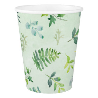 Watercolor Greenery Leaves & Foliage Paper Cup
