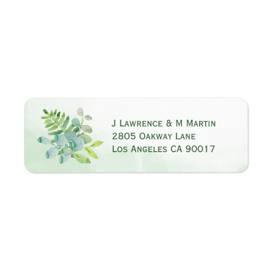 Watercolor Greenery Return Address Labels