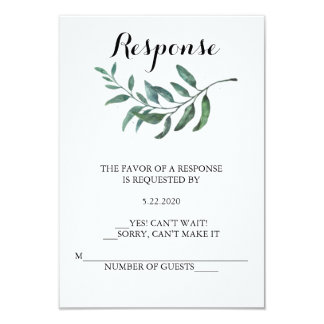 Watercolor Greenery RSVP Card