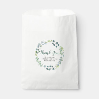 Watercolor Greenery Wedding Thank You Favour Bags