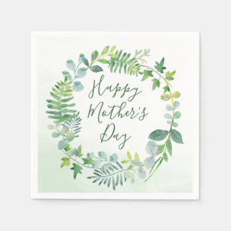 Watercolor Greenery Wreath Mother's Day Disposable Napkin