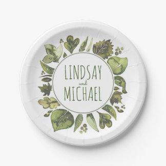 Watercolor Greenery Wreath Rustic Woodland Wedding Paper Plate