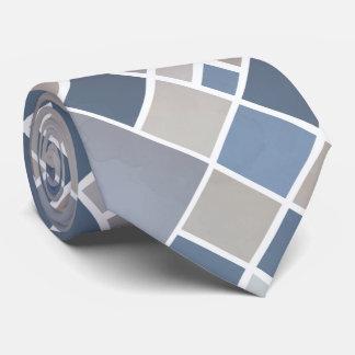 Watercolor Grey Blue Elegant Checkered Tie