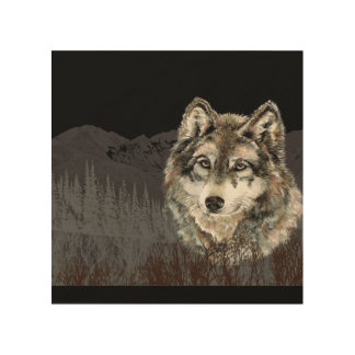 Watercolor Grey Gray Wolf Mountain Animal Art