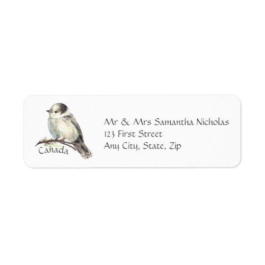 Watercolor Grey,Grey Jay Canada National Bird Return Address Label