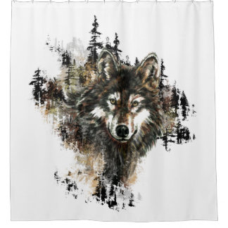 Watercolor Grey Wolf Mountain Animal Art Shower Curtain