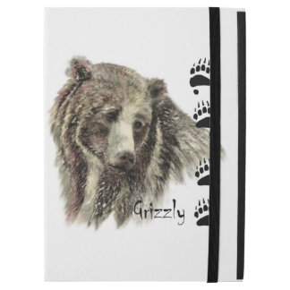 "Watercolor Grizzly Bear Animal Art with footprints iPad Pro 12.9"" Case"