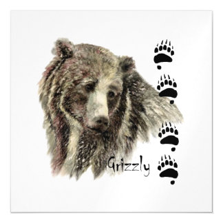 Watercolor Grizzly Bear Wildlife Nature Art Magnetic Invitations