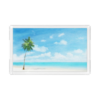 Watercolor grunge image of beach acrylic tray
