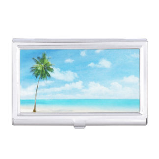 Watercolor grunge image of beach business card holders