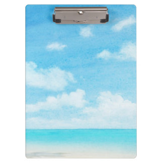 Watercolor grunge image of beach clipboard