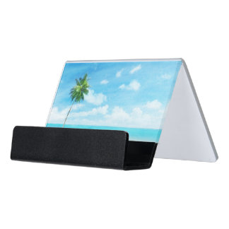 Watercolor grunge image of beach desk business card holder