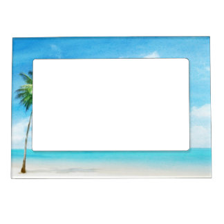 Watercolor grunge image of beach magnetic picture frame