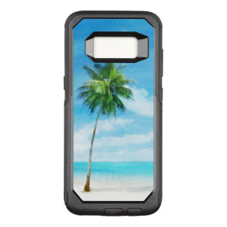 Watercolor grunge image of beach OtterBox commuter samsung galaxy s8 case